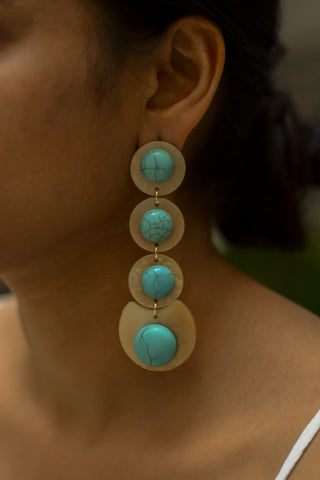 Beige & Turqoise Long Earrings #AL444 - Brinda's Store
