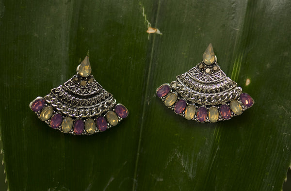 Silver Muti Coloured Earrings  #AL458