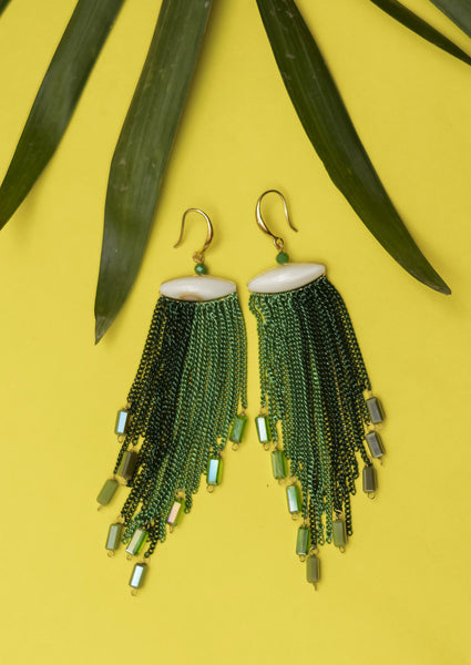 Green Shaded Long Earrings #AL445 - Brinda's Store