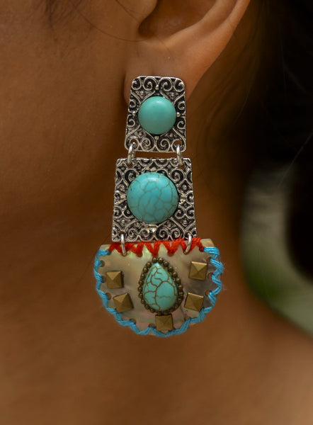 Silver Turkish Boho Earrings  #AL448