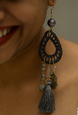 Grey Boho Long Earrings - tassel #AL453