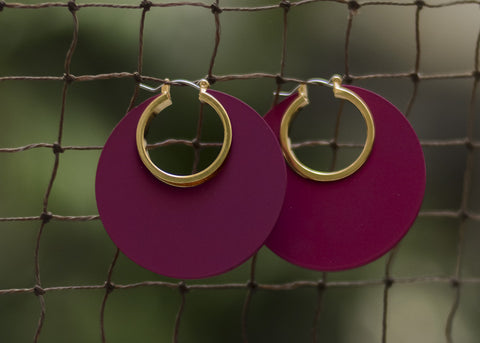 Maroon Wodden Earrings - Round #AL450