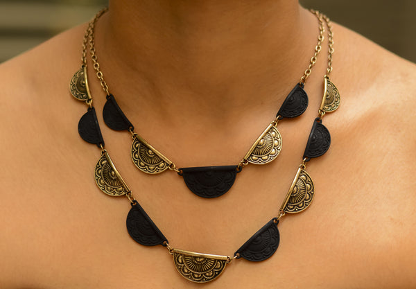 Black & Copper Two Layered Neckpiece - Semi Round #AL423 - Brinda's Store
