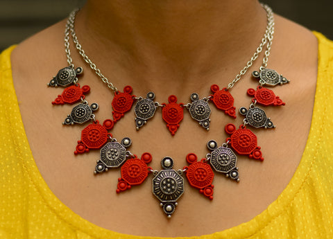 Red & Silver Two Layered Neckpiece - Hexagon #AL422