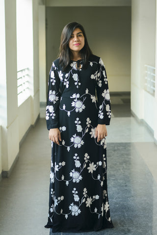 Black Embroidered Maxi Dress - Brinda's Store