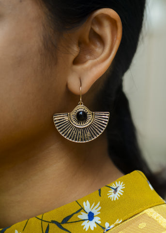 Copper Tribal Earrings - Black stone Half Round #AL467 - Brinda's Store