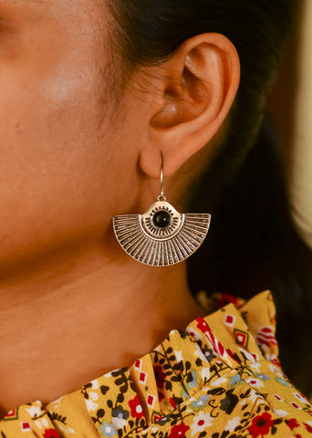 Silver Tribal Earrings - Black stone Half Round #AL466