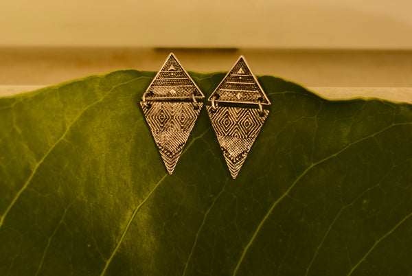 Silver Tribal Earrings - with patches #AL461