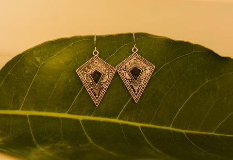 Silver Black Stone Earrings #AL469