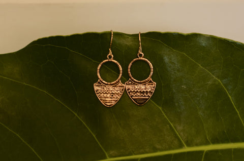 Copper Tribal Earrings #AL459 - Brinda's Store