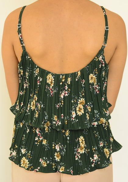 Bottle Green Floral Pleated Cammy Top - Brinda's Store