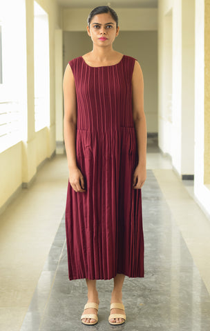 Maroon-Coloured Trapeze Dress