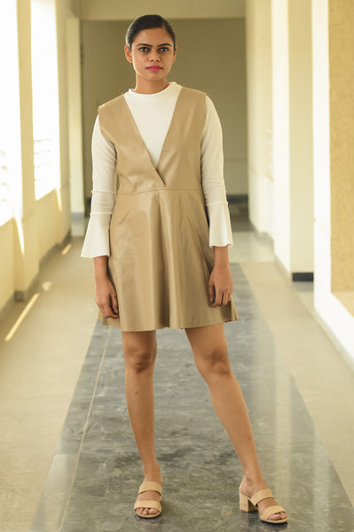 Tan Brown Faux Leather Shift Dress