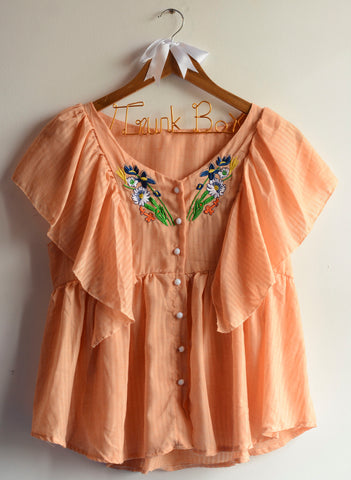 Orange Embroidered Ruffled Top