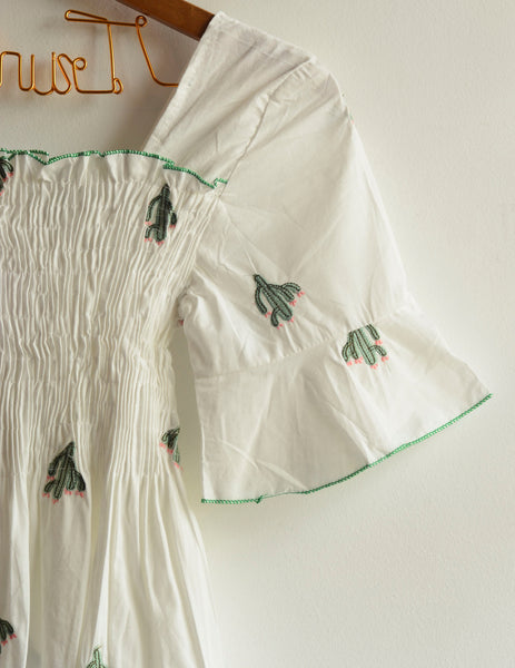 White Cactus Embroidered Top