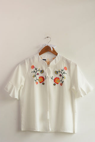 White Flower Embroidered Tie-up Top