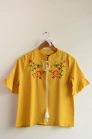 Yellow Flower Embroidered Tie-up Top - Brinda's Store