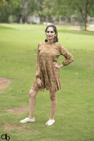 Brown Flared Short Dress - Brinda's Store