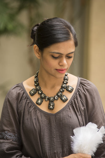 Black Livid Square Neck Piece #AL690 - Brinda's Store