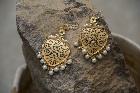 Mat Golden Pearl Crafted Earrings #AL647