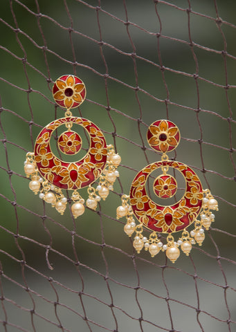 Red Meenakari Pearl Chandbali #AL656