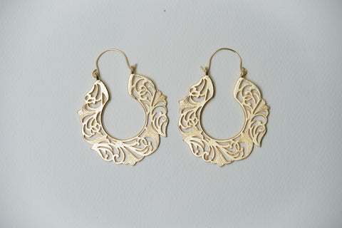 Mat Gold Crafted Earrings #AL646
