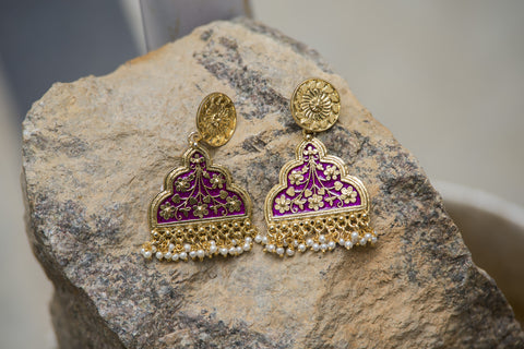 Purple Crafted Golden Earrings #AL650