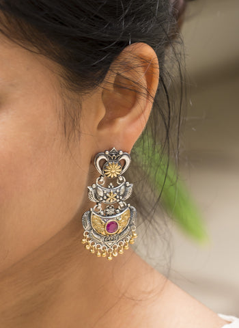 Two Tone Silver Chandbalis - Pink #AL675