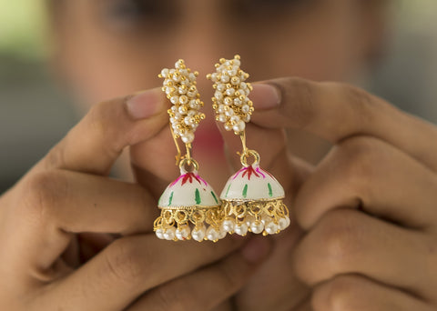 White Painted Pearl Jhumkas #AL652