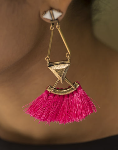 Pink Tassel Gold Mat Earrings  #AL614