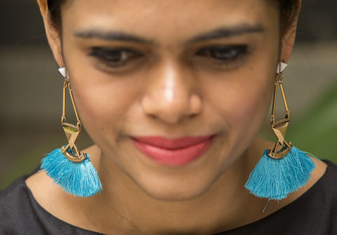 Sky Blue Tassel Gold Mat Earrings  #AL613