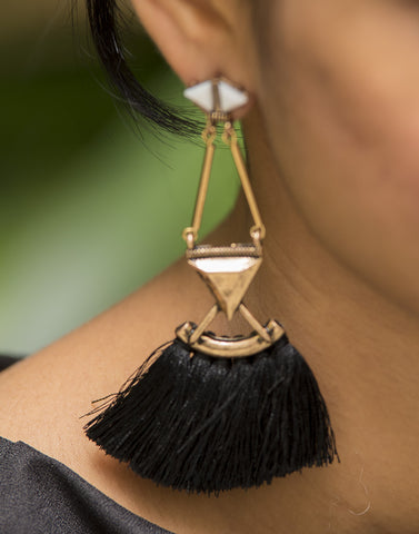 Black Tassel Gold Mat Earrings  #AL615 - Brinda's Store
