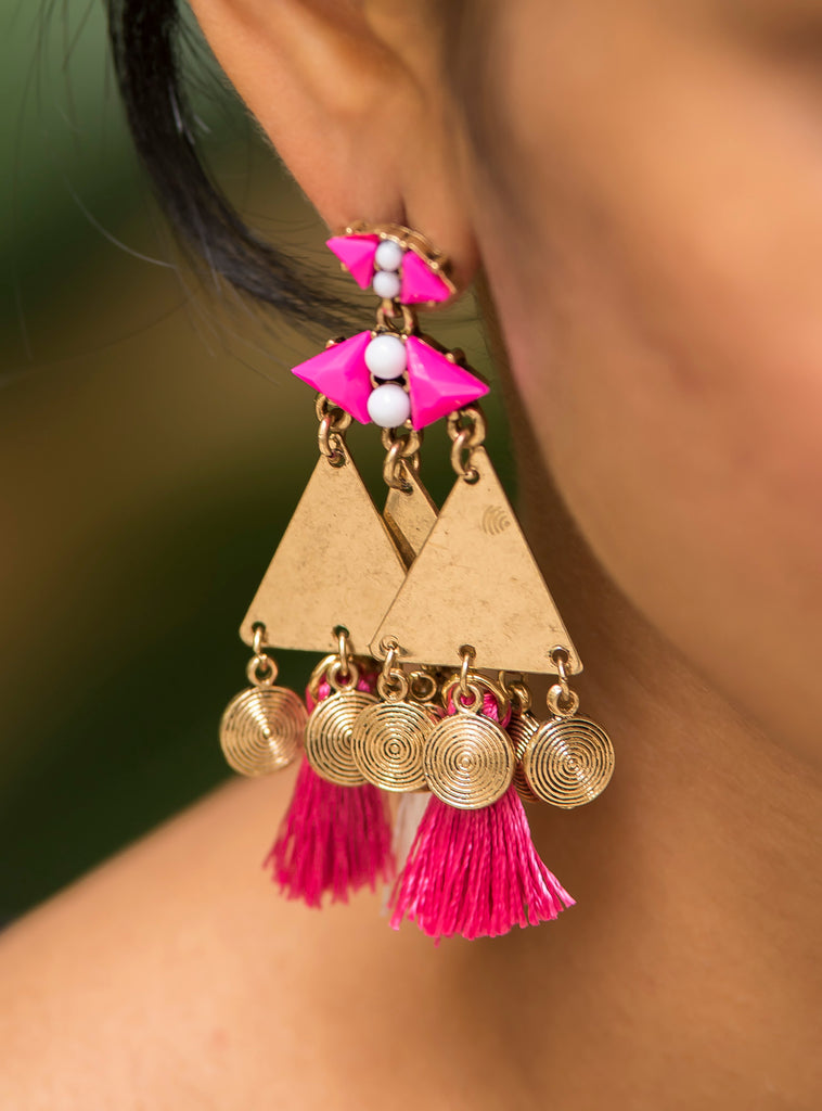 Pink Tassel Geometric Gold Earrings  #AL618