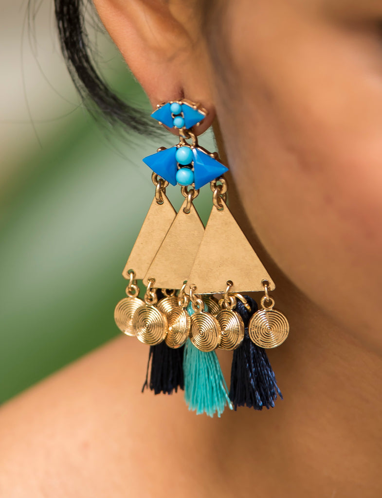 Blue Tassel Geometric Gold Earrings  #AL617 - Brinda's Store