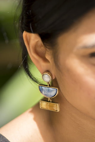 Geometric Blue Gold Earrings #AL636 - Brinda's Store