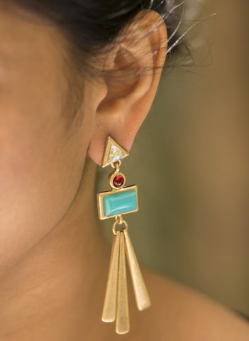 Turquoise Tribal Statement Earrings - Mat Golden #AL603