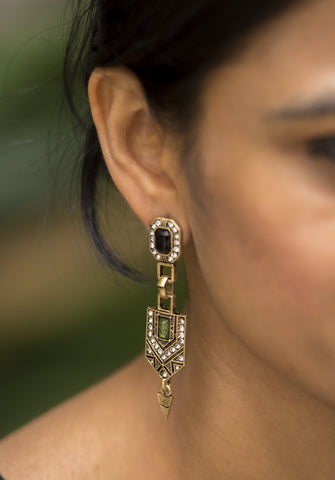 Black Dangling Golden Earrings #AL637 - Brinda's Store