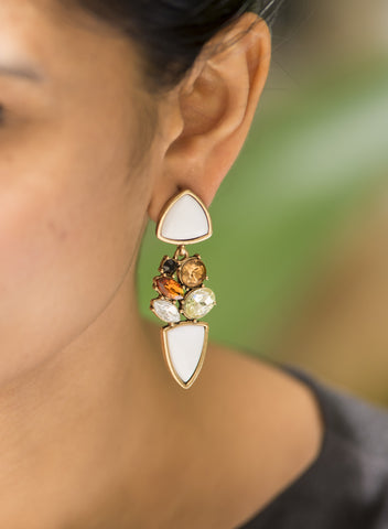 White Embellished Statement Earrings #AL609