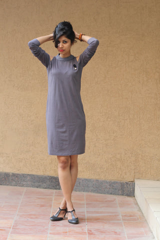 Women Grey Coloured Cold-shoulder Shift Dress - Brinda's Store