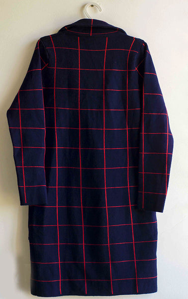 Women Blue Checked Coat - Brinda's Store