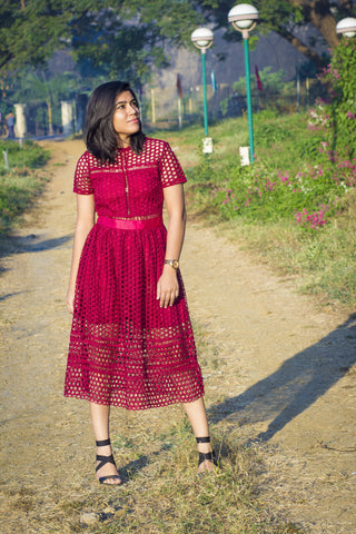 Women Maroon Lace Sheath Dress - Brinda's Store