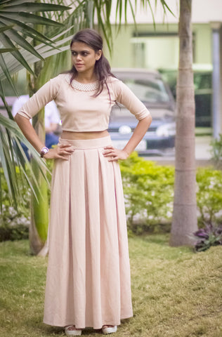 Beige Crop Top & Long Skirt Pair with Pearl Neckline #IML413 - Brinda's Store
