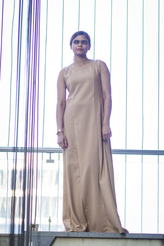 Women Beige Plain Woven Maxi Dress - Brinda's Store