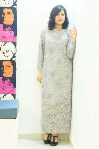 Women Grey Woven Maxi Dress - Brinda's Store