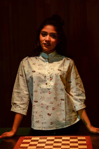 White Cat Printed Shirt - Brinda's Store