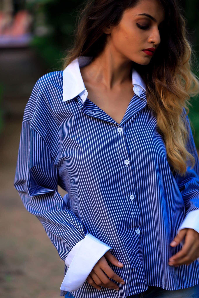 Blue Vertical Striped Open Back Shirt - Brinda's Store