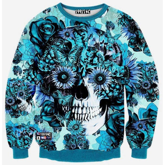 Blue Floral Skull Sweater