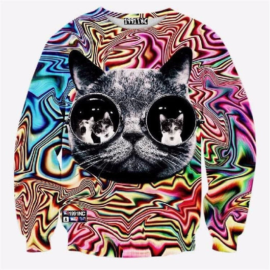 Trippy Cool Cat Sweater