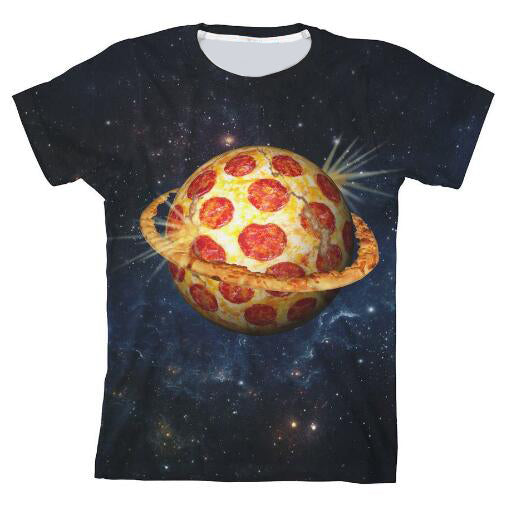Planet Pizza Youth T-Shirt Space Print Tee Women/Men Casual Hipster Crewneck Galaxy Moon Tumblr tshirt Hip Hop Girl Outfits Tops
