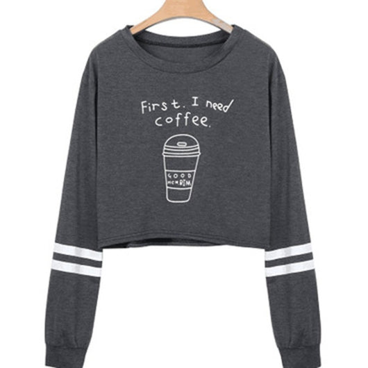 I Need Coffee Crop Sweater